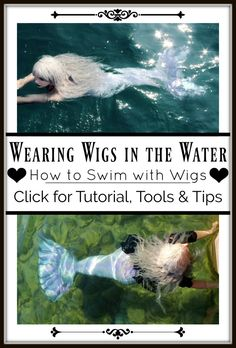 How to Wear a Wig in the Water- Tutorial for Cosplay Pool Parties & Mermaids that Wear Wigs — The Magic Crafter Real Mermaids, Mermaids And Mermen, Fantasy Mermaids, Mermaid Tails, Mermaid Mermaid, Vintage Mermaid, Professional Mermaid, How To Wear A Wig, Mermaid Swimming