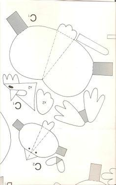 Pollitos y gallinas de papel. Juguetes de papel.