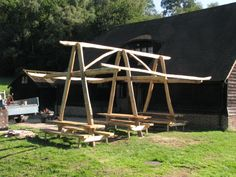 Seating and shelter all in one, a Sweet Chestnut A-Frame