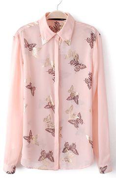 #SheInside Pink Metal Embellished Butterfly Print Blouse - Sheinside.com