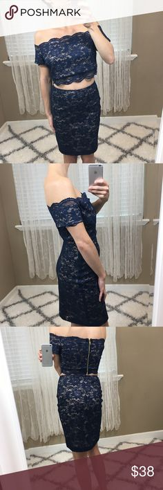 2 Piece Lace Skirt Set - Size Large Two piece navy lace skirt set. Off Shoulder Top and pencil skirt. Zipper up the back. Excellent condition brand is va va voom size large. No trades  --HU CLOSET  #vavavoom #lace #skirtset #offtheshoulder Va Va Voom Skirts Skirt Sets
