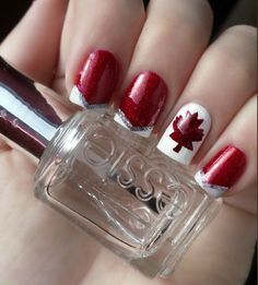 Canadian Flag Nails with Red Sparkles
