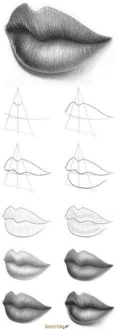 Delineate Your Lips dessiner des lèvres - How to draw lips correctly? The first thing to keep in mind is the shape of your lips: if they are thin or thick and if you have the M (or heart) pronounced or barely suggested. Art Drawings Sketches Simple, Pencil Art Drawings, Realistic Drawings, Drawing Faces, Cool Drawings, Realistic Eye, Horse Drawings, Beautiful Drawings, Sketches To Draw