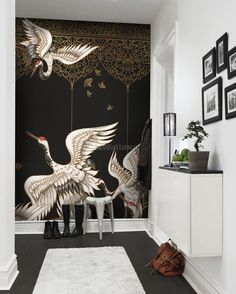 Asian Crane Birds and Gold Style Ornaments Wallpaper Mural Oriental Wallpaper, Gold Wallpaper, Asian Wallpaper, Wall Art Designs, Wall Design, Chair Design, Design Design, Twin Bed Furniture, Plywood Furniture