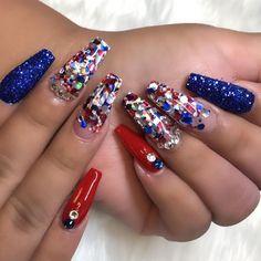 Cross Nail Designs, Acrylic Nail Designs, Nail Art Designs, Acrylic Nails, July 4th Nails Designs, 4th Of July Nails, Holiday Nails, Christmas Nails, Spring Nails