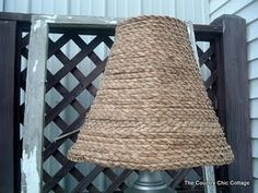Make your own seagrass lamp shade!  Ballard Designs knock off!  Tutorial here:  http://www.thecountrychiccottage.net/2011/08/ballard-designs-knock-off-seagrass-lamp.html