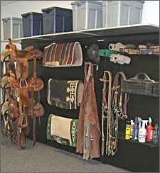 Love seeing an organized tack room with everything off the ground. I see so many unorganized that I desire only this! I especially love that the brushes are up and in easy reach.