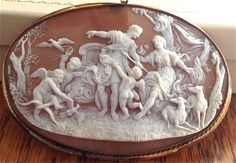 """Museum Quality Sardonyx Shell Cameo Brooch/Pendant of Adonis and Venus by """"Froullé Varnier"""" (1875)"""