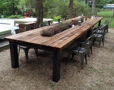 Reclaimed wood Outdoor furniture | Rustic outdoor tables