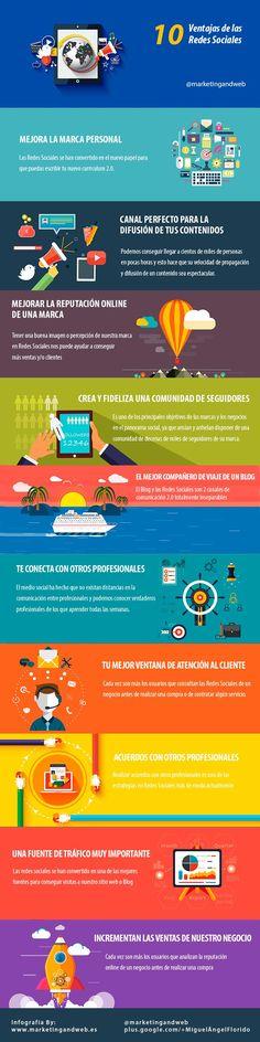 Una infografía en castellano que nos expone las diez principales ventajas que ofrecen las Redes Sociales para nuestra página, empresa, compañía, marca, etc.