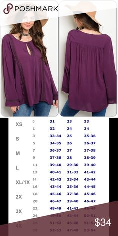 Purple Boho Tunic This beautiful top features long bell sleeves and crochet trim with keyhole detail. 100% Rayon. (This closet does not trade or use PayPal) Tops Tunics