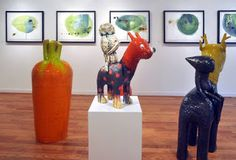 """""""Modernist Outlook""""; Taehloon Kim's ceramic sculptures and Ana Zanic's """"Green Nebula"""" watercolors. Gallery 19 Chicago May-June 2015"""