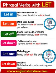 Phrasal Verbs with LET in English - English Study Here English Idioms, English Phrases, Learn English Words, English Study, English Lessons, English English, English Tips, French Lessons, Spanish Lessons