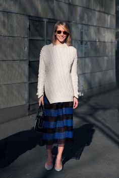 man I love that knit/skirt combo. #IndreRockefeller in Paris.