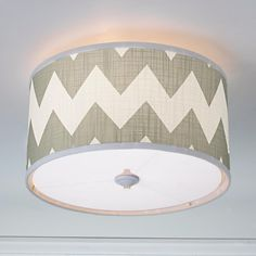 Magna Chevron Drum Shade Ceiling Light - 4 Colors!