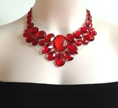 red bib necklace - red rhinestone bib necklace perfect for bridesmaids, prom, wedding, gift or for you NEW on Etsy, $28.00