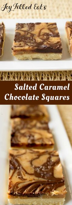 Salted Caramel Chocolate Squares - Low Carb, Grain Gluten Sugar Free, THM S, Keto - My Salted Caramel Chocolate Squares have a buttery crust and a swirled topping of caramel & chocolate. They look like a treat from a fancy bakery.