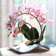 flower arrangement ikebana arranged artificial Butterfly Moth Orchid silk Flower include vase Home Decoration FV25-in Decorative Flowers & W...