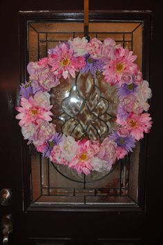 Beautiful Spring Floral Wreath in Pinks and Purple by ItsAKimThing, $149.00