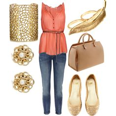 Coral + Gold, created by alyssa-nolte on Polyvore