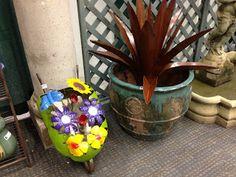 Old World Pottery-Metal Flowers, Rustic Agave, and Vintage Planter #oldworldpotteryofwichitafalls #metalflowers #metalwork #flowers #agave #rustic #planter #vintage #homeandgarden #home #garden #decor