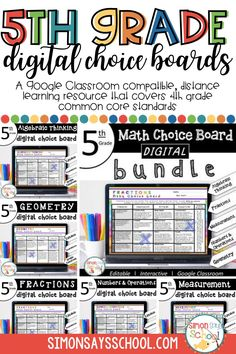 These choice boards are a great digital 5th grade math resource for addressing 5th grade math common core standards, while giving students choice on which fun math activities they want to complete, can be used in your 5th grade Google Classroom, and are a great addition to 5th grade math virtual learning activities. #5thgrademath #commoncoremath #mathresources #distance learning