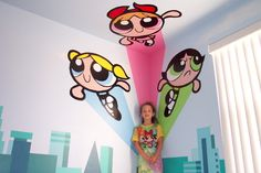"""Power Puff Girls   72"""" x 84"""" Across two wall and onto the ceiling    Location: Private residence"""