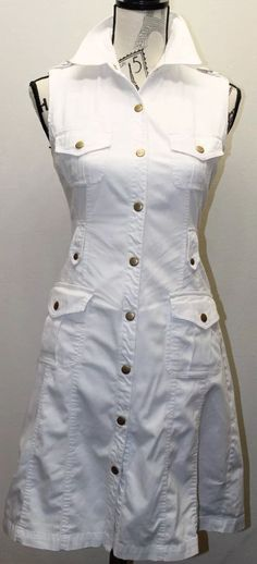 Calvin Klein Women White Dress Safari Brass Buttons Sleeveless Sz 6 Cotton   eBay
