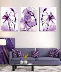 Combined 3 Pcs/set New Purple Flower Wall Art Painting Prints On Canvas Abstract Flower Veins Canvas Wall Picture for BedRoom Purple Wall Art, Purple Walls, Purple Painting, Oil Painting On Canvas, Painting Prints, Spray Painting, Art Paintings, Deco Violet, Murs Violets