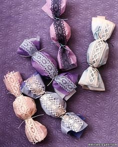 Try making these favors: amaretto cookies are wrapped in tissue paper and accented with a strip of lace