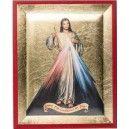 Magnifique icône de qualité du Christ Miséricordieux.Cette icône est le fruit d'un travail artisanal réalisée exclusivement à la main sur feuille d'or.Dimensions : 8 cm x 6,5 cm.Peut être accrochée ou posée sur un porte icône.Livrée avec son certificat d'authenticité.