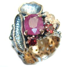 $73.85 Natural AAA Pink Ruby & Garnet, Gold Plated, Rhodium Plated Sterling Silver Ring s. 9 at www.SilverRushStyle.com #ring #handmade #jewelry #silver #ruby