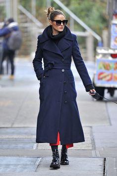 Olivia Palermo con abrigo largo cruzado de Max Mara - January 2017