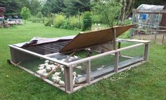 This chicken tractor was built so that it can be taken apart and stored for winter. It is very solid and predator proof.