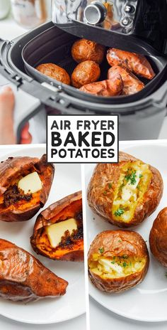 The ultimate guide on how to cook air fryer potatoes! How to make roasted potatoes, homemade French fries, and potato chips in your air fryer. fryer recipes potatoes french fries How to Cook Air Fryer Potatoes (Baked, Fries, and Chips! Air Fryer Oven Recipes, Air Frier Recipes, Air Fryer Dinner Recipes, Recipes Dinner, Air Fryer Potato Chips, Air Fryer Baked Potato, Air Fryer Chips, Homemade Sweet Potato Fries, Homemade French Fries