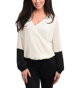 Take a look at this White & Black Surplice Top on zulily today!