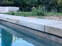 "pool coping 3"" thick . authentic finish . long side needled. grey cappuccino color .back wall grey provence-veneer  #swimmingpool #poolcoping #grey #limestone #french #love #exterior #frenchlimestone #french #stone  #floorcore #stoneveneer #provence #outdoorinspiration"