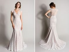 """""""Fern"""" lace wedding dress from the 2016 Songbird Collection by Suzanne Neville. Photography: Courtesy of Suzanne Neville. Read More: http://www.insideweddings.com/news/fashion/dreamy-wedding-dresses-perfect-for-summer-weddings/2062/"""
