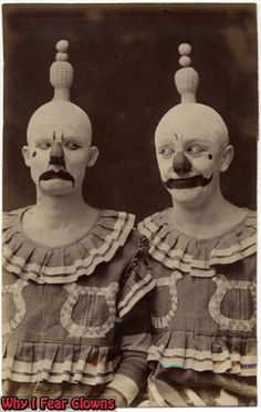 1910 Clowns, Double your creepy . . . Double your fun . . . Vintage circus act.