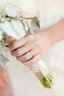 Yellow gold wedding bands for me and him (an English tradition).