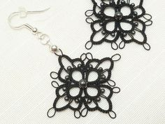 Modern Tatted Lace Earrings with Hematite beads -MOD in black MTO.