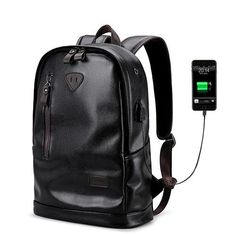 5174c3273a7e LIELANG Men Backpack External USB Charge Waterproof Backpack Fashion PU Leather  Travel Bag Casual School Bag leather bookbag