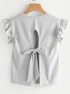 Shop Ruffle Sleeve Self Tie Open Back Tee online. SheIn offers Ruffle Sleeve Self Tie Open Back Tee & more to fit your fashionable needs. Sewing Clothes, Diy Clothes, Clothes For Women, Trendy Outfits, Kids Outfits, Cute Outfits, Diy Kids Shirts, Hijab Fashion, Fashion Outfits