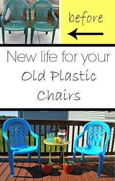 Deck Makeover   Painted Plastic Chairs