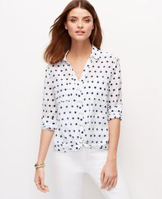 Dotted Two Pocket Button Down Shirt | Ann Taylor