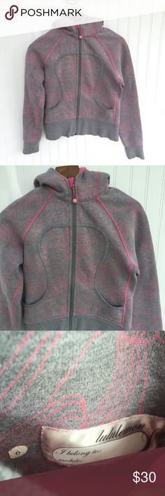"•lululemon• Scuba Hoodie lululemon Scuba Hoodie in heathered gray and pink floral pattern.  Pink-lined hood.  Pre-worn, but good condition.  Size 6. Measures (flat, zipped and approximate): armpit to armpit - 18.5""; armpit to bottom - 14"" lululemon athletica Tops Sweatshirts & Hoodies"