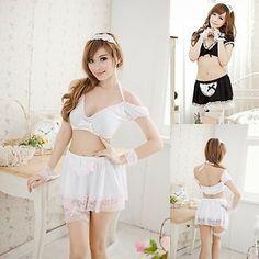 Sexy Lingerie Black White Babydoll Maid Uniform Clubwear Skirt Cosplay Sets