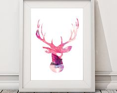 """Items similar to Deer Silhouette with Chevron Zig Zag Stripes - One print -  16""""x20"""" on Etsy"""