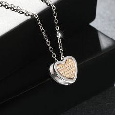 """Amazon.com: T400 Jewelers """"Double Heart"""" Sterling Silver Cubic Zirconia Pendant Necklace White, 16.5"""": Jewelry"""