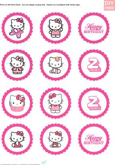 DIY Free Hello Kitty Cupcake Topper - JustLoveDesign Kitty Party, Hello Kitty Theme Party, Hello Kitty Cupcakes, Hello Kitty Themes, Hello Kitty Birthday, Happy 2nd Birthday, Birthday Parties, Anniversaire Hello Kitty, Hello Kitty Imagenes